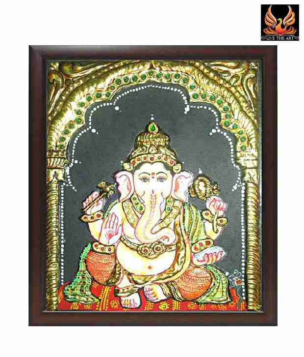 Live The Art Tanjore Painting Of Lord Ganesha