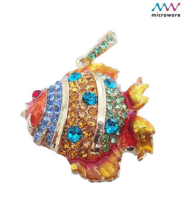 Microware Golden Fish Shape Jewellery Designer Pen Drive 8 GB