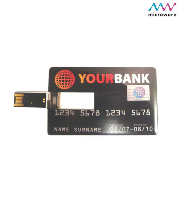 Microware Credit Card Shape 4GB USB 2.0 Fancy Pendrive Pack of 1