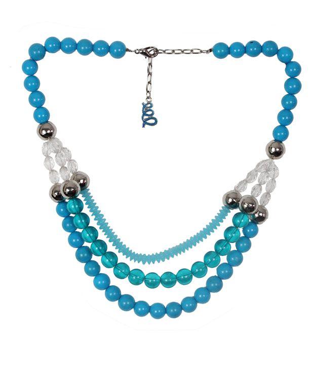 Embellish Blue Bead Multiple Row Necklace