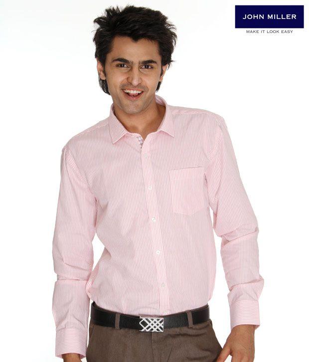 John Miller Striped Pink Shirt