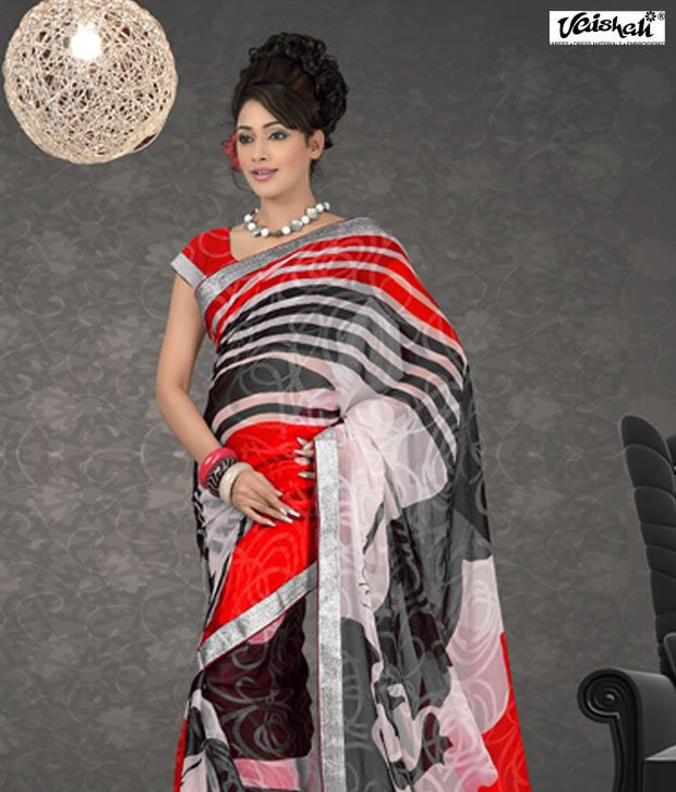 Vaishali Bewitching Cream Red Black Printed Saree with Unstitched Blouse