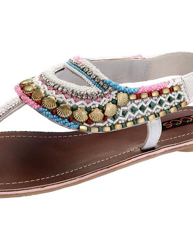 f3e05721f7da4 Joos White Shell Beaded Sandals Price in India- Buy Joos White Shell ...