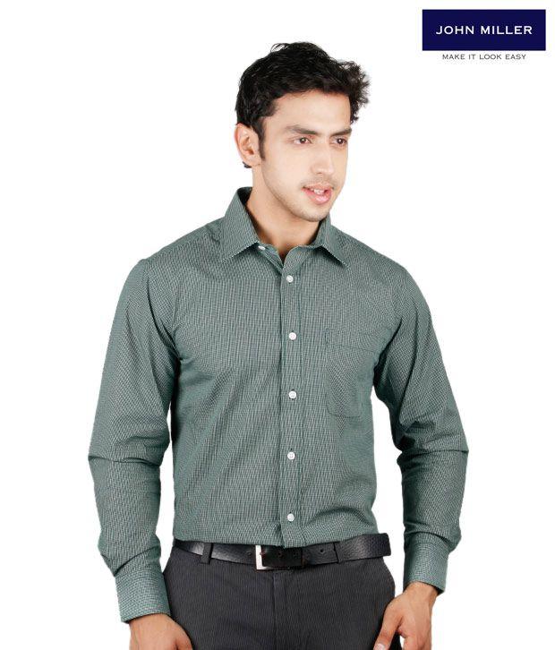 John Miller Fine Checked Green Shirt
