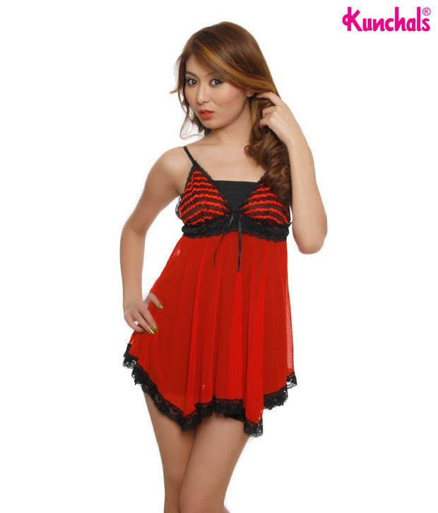 Kunchals Red & Black Baby Doll With Thong Panty
