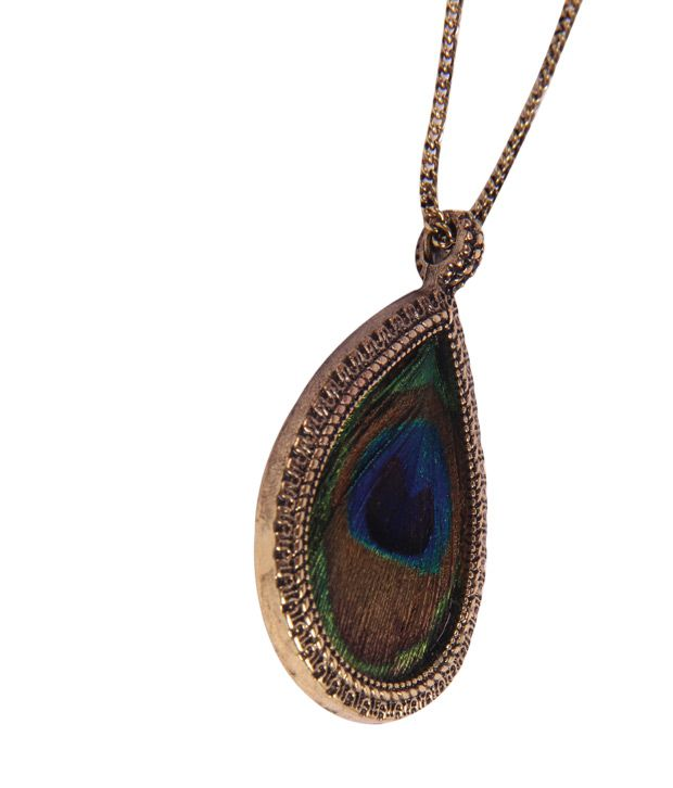 painted feather peacock necklace brass pendant