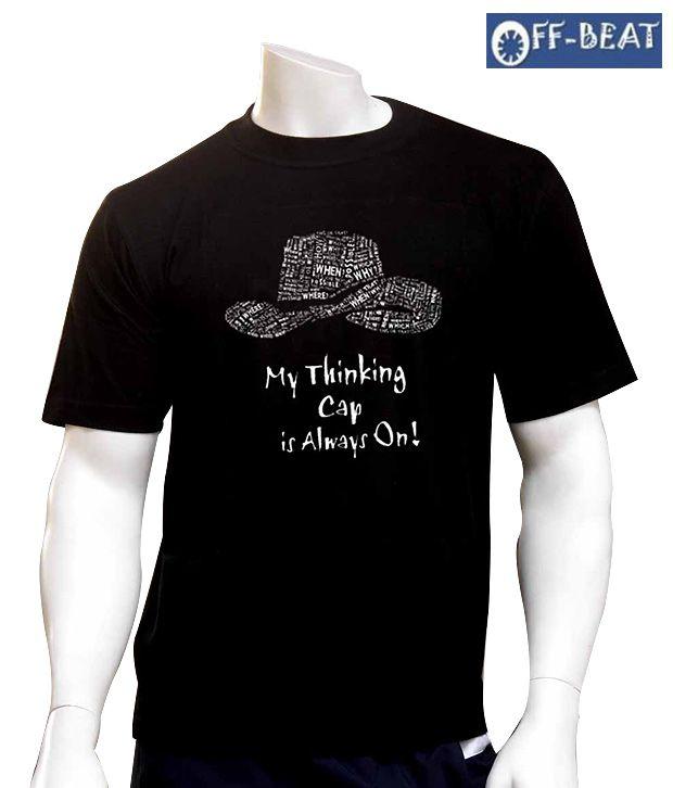 Off-Beat Witty Black Cotton T-Shirt