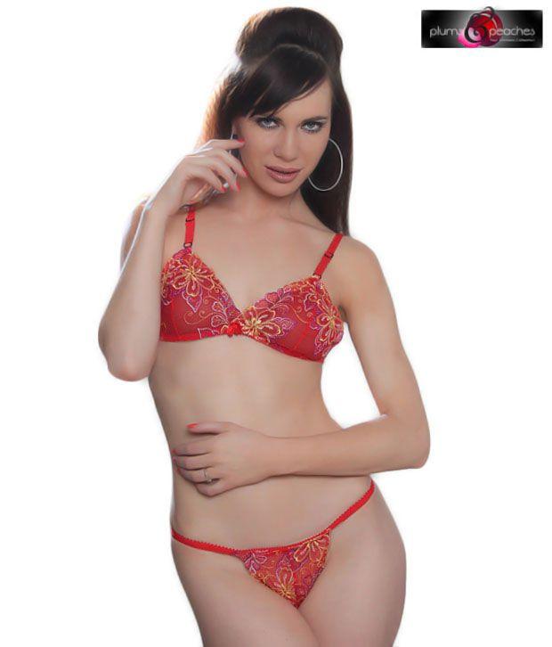 Plums & Peaches Red & Yellow Net Bikini Set