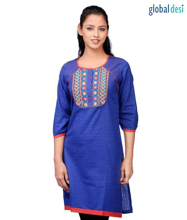 Global Desi Elegant Royal Blue Kurti