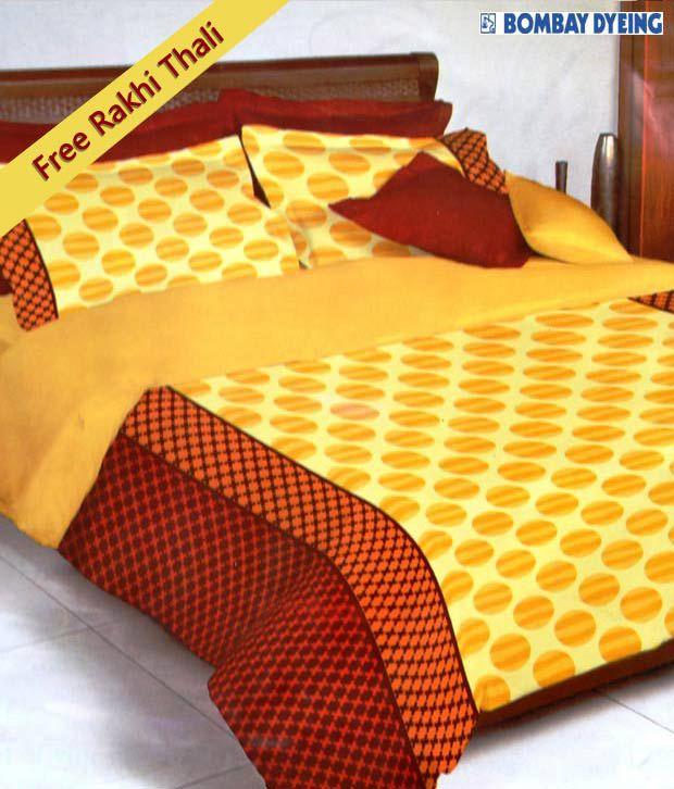 Bombay Dyeing Yellow & Orange Celsia Single Bed Sheet