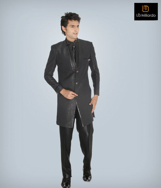La Miliardo Black Imported Fabric Suit