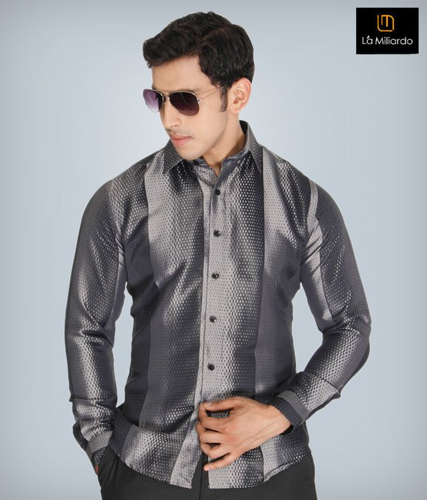 La Miliardo Gray Cotton Blend Shirt