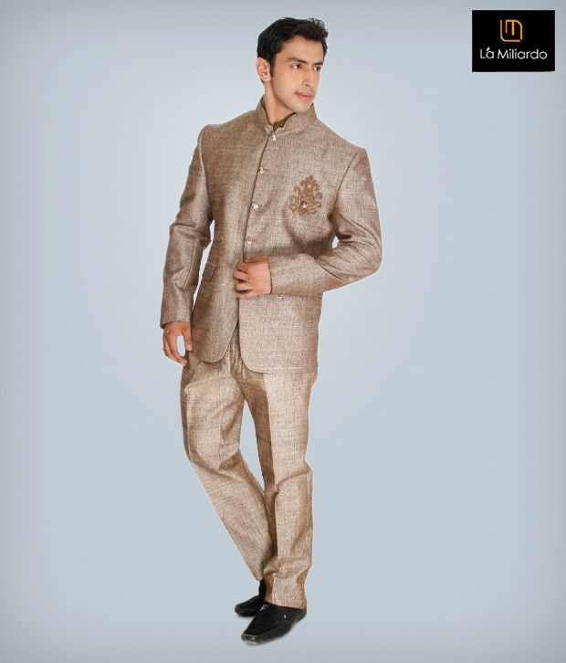 La Miliardo Light Brown Imported Fabric Suit
