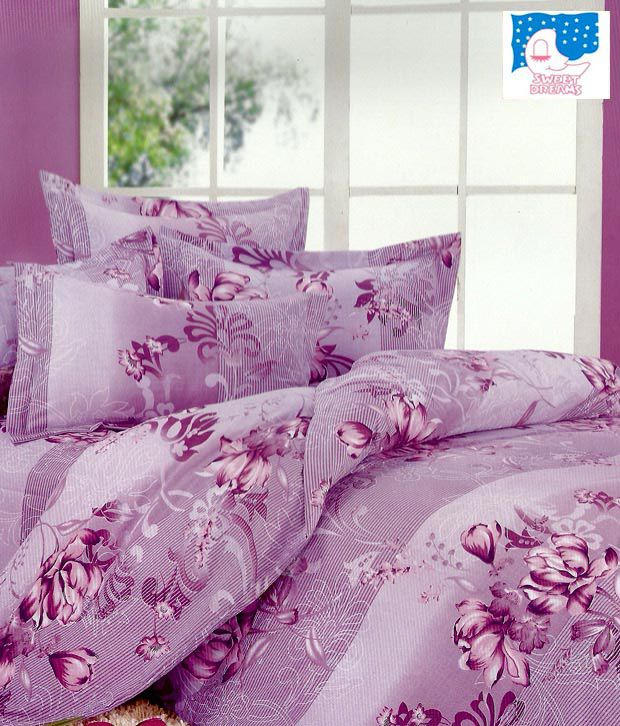 Sweet Dreams Mauve Flowers Double Bed Sheet