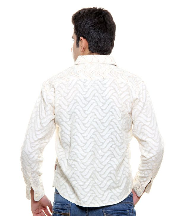 4a1ecf32 Veda Off White Self Print Shirt Veda Off White Self Print Shirt ...