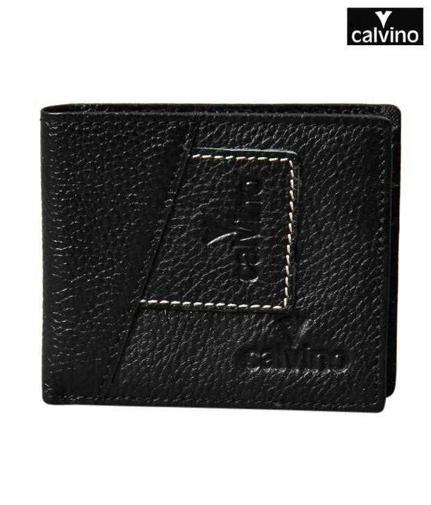 Calvino Rugged Black Contrast Stitch Wallet