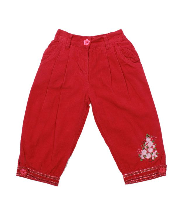 Nauti Nati Red Embroidered Cord Pant For Kids