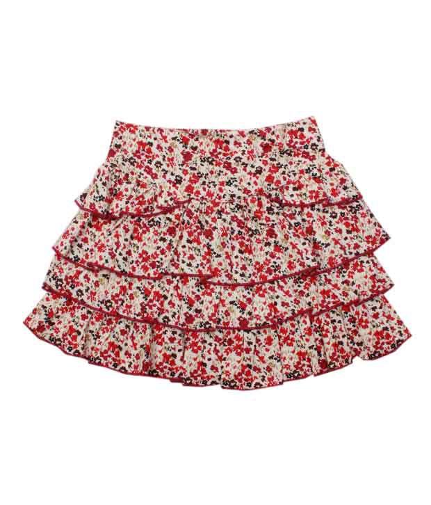 Nauti Nati Elegant Floral Print Tier Skirt For Kids