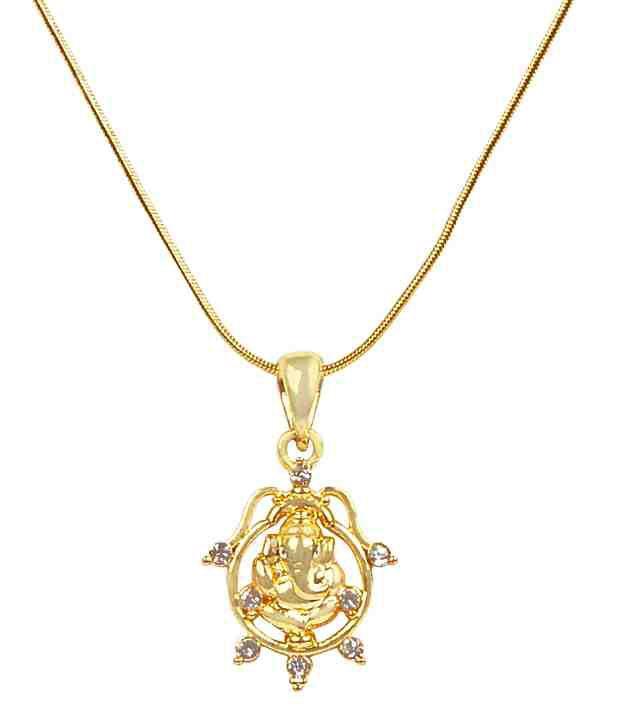 Adhira Artistically Designed Ganpati Crystal Chain Pendant