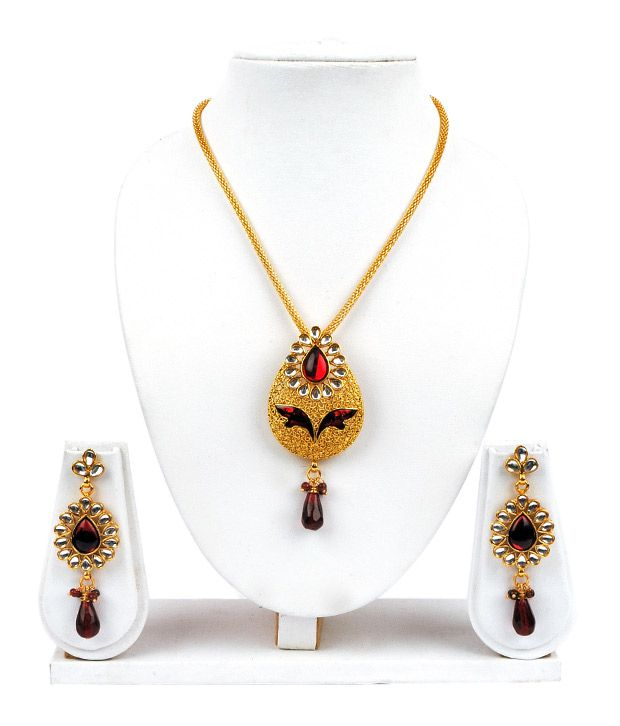 Adhira Finely Crafted Maroon & Golden Necklace Set