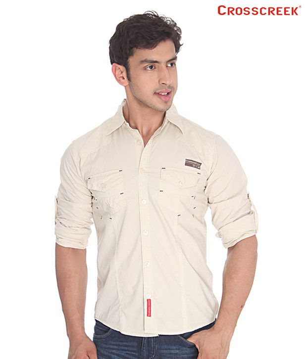 Crosscreek Beige Cotton Shirt