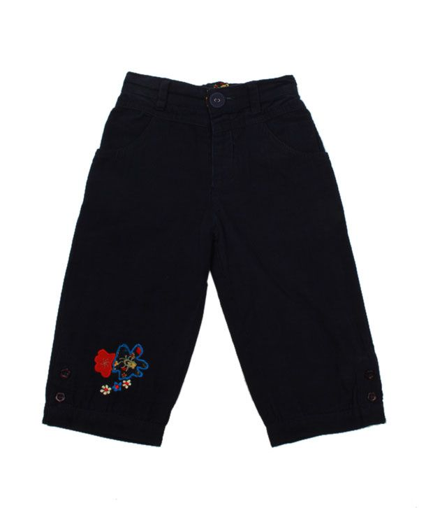 Nauti Nati Classy Navy Blue Embroidered Cord Pant For Kids