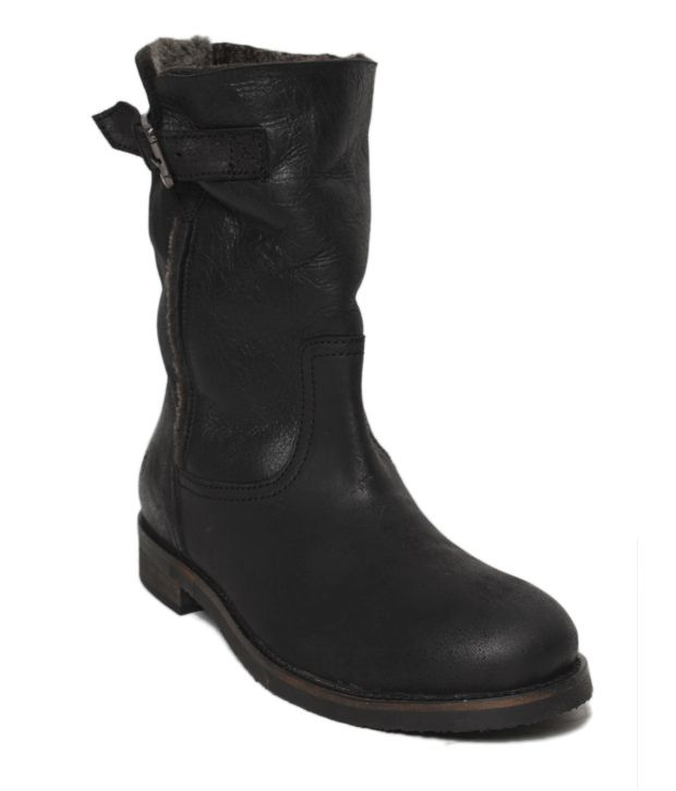 Euro Star Classic Black High Ankle Length Boots
