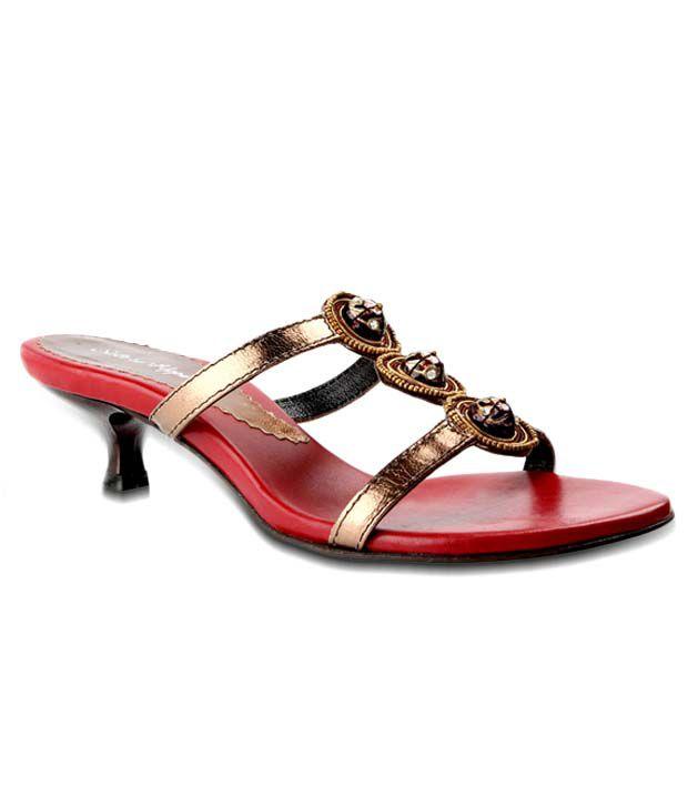 Salt 'n' Pepper Ethnic Bronze Slip-on Heels