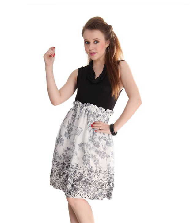 AND Black-White Floral Printed Rayon Dress