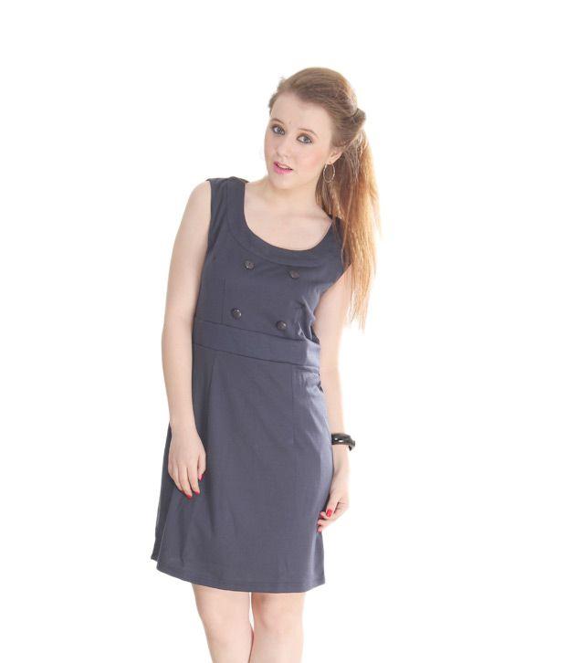 AND Navy Blue Straight Fit Buttoned Dress