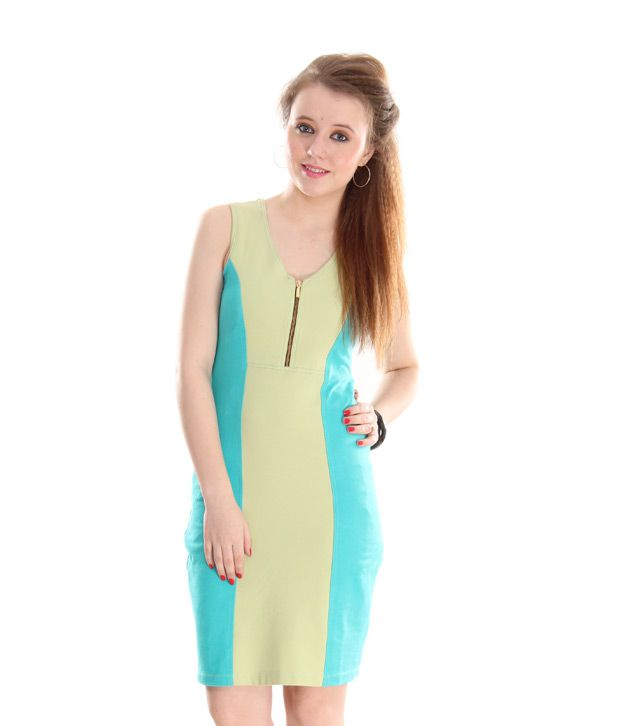 AND Lime Green-Blue Colour Block A-Line Dress