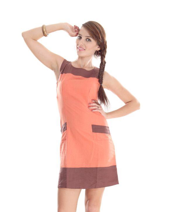 AND Orange Colour Block A-Line Dress