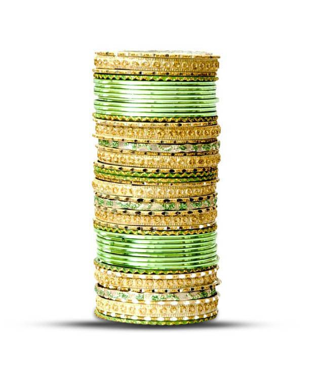 Aadya Set Of Green & Golden Lac Bangles