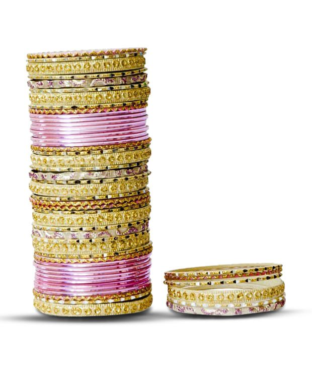 Aadya Pretty Set Of Pink & Golden Lac Bangles