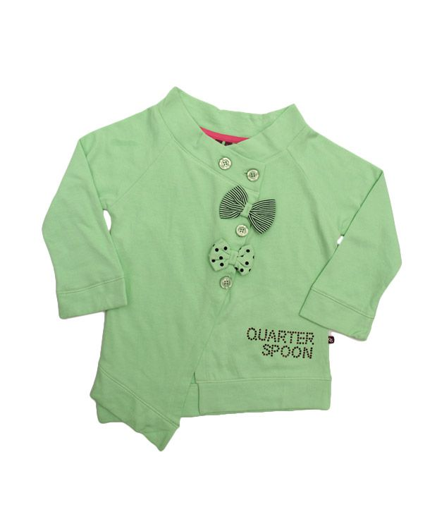 Quarter Spoon Vibrant Green Boat Neck Jacket For Kids
