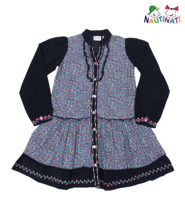 Nauti Nati Navy Blue Designer Dress For Kids