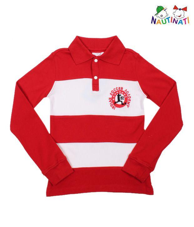 Nauti Nati Red & White T-Shirt For Kids