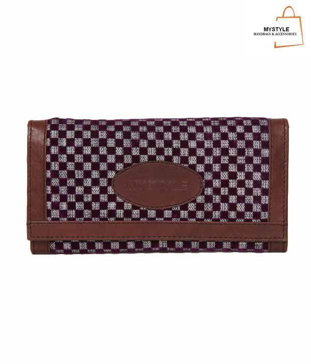 My Style Splendid Purple & Grey Checkered Wallet