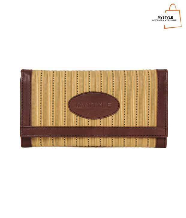 My Style Brown & Yellow Vertical Emboss Design Wallet