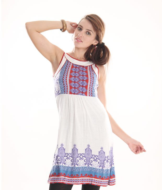 Global Desi White-Blue Printed Knitted Tunic