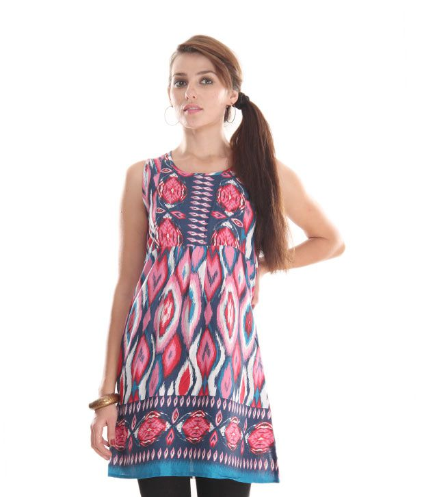 Global Desi Red Abstract Printed Tunic