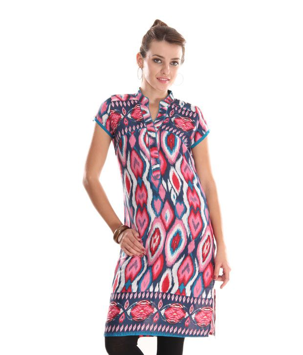 Global Desi Red Abstract Printed Kurti
