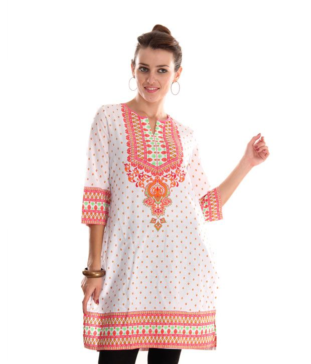 Global Desi White-Pink Printed Cotton Kurti
