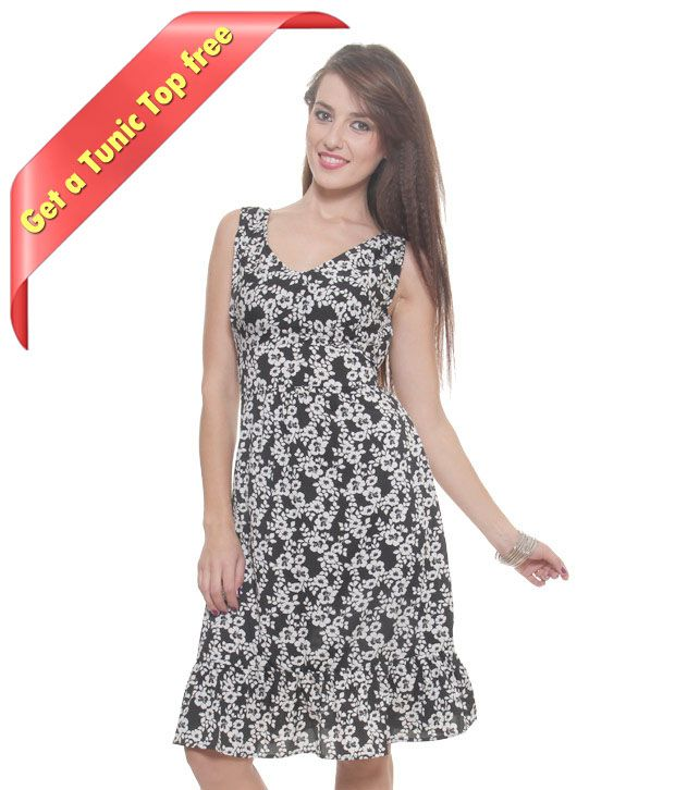 Frolic Amazing Black-White Dress With Freebie Top