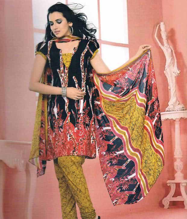 Khazana Black Crepe Jacquard Unstitched Dress Material