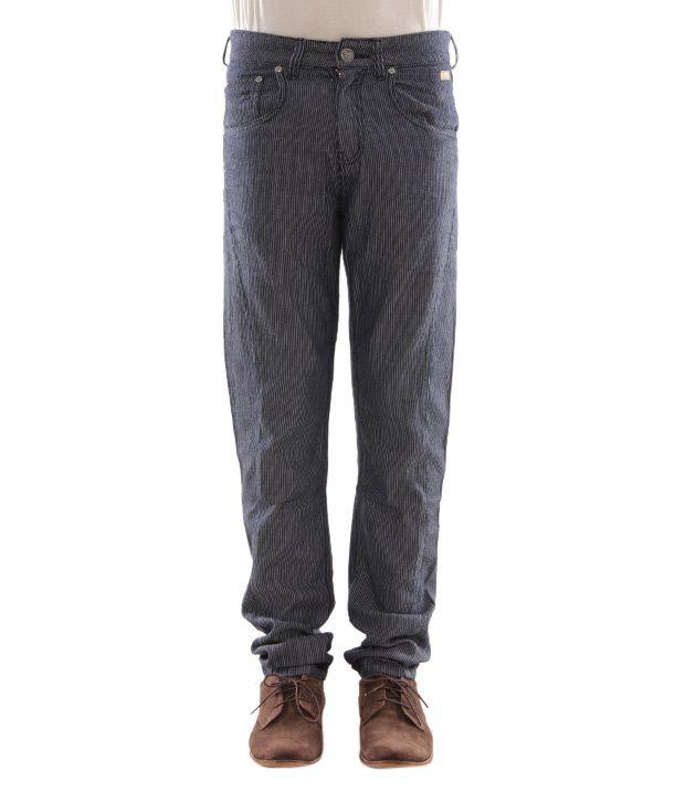 Zaab Blue Striped Men's  Jeans