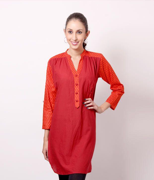 Shree Zesty Red-Orange Cotton Kurti