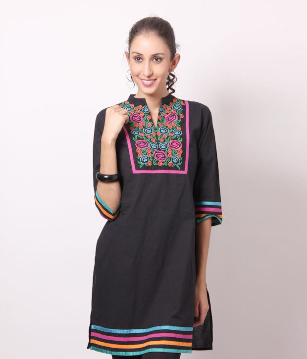 Shree Classic Black Cotton Kurti