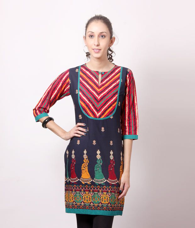 Shree Ethnic Red-Navy Blue Cotton Kurti