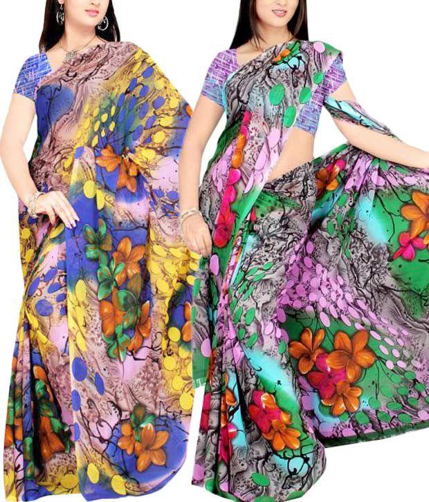 Priyanka's Fabulous Multi-Coloured Saree Combo of 2